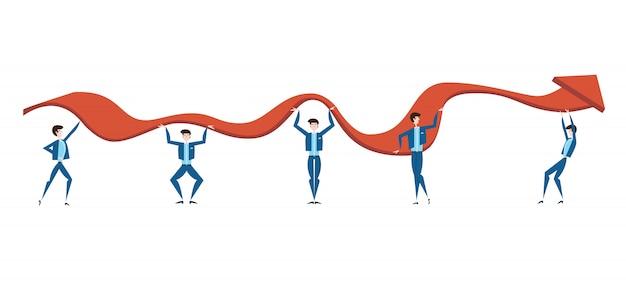 Mensen uit het bedrijfsleven proberen de grafiek van de inkomensgroei van het bedrijf te verhogen. het concept van teamwerk. illustratie, op wit.