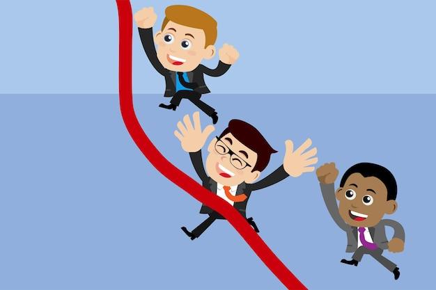 Mensen uit het bedrijfsleven rennen naar de finish