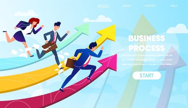 Mensen uit het bedrijfsleven rennen naar succes op groeiende pijlen.