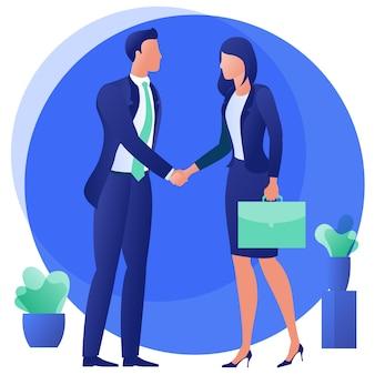 Mensen uit het bedrijfsleven schudden elkaar de hand na onderhandeling