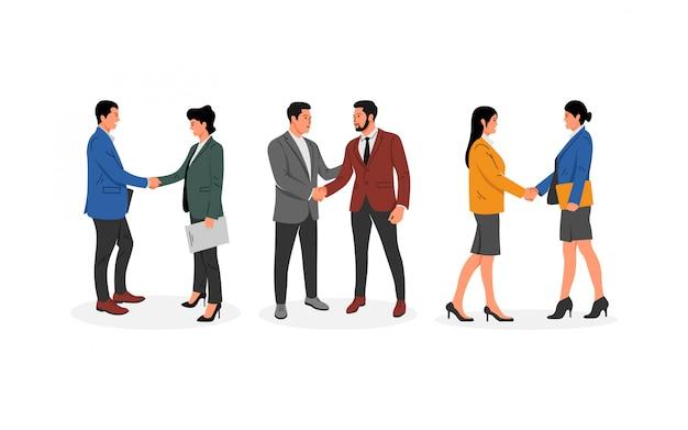 Mensen uit het bedrijfsleven schudden handen collectie
