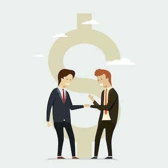 Mensen uit het bedrijfsleven schudden handen partners flat dollar pictogram.