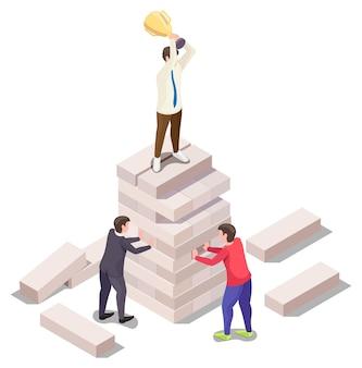 Mensen uit het bedrijfsleven spelen jenga bordspel vector isometrische illustratie competitieve strijd in het bedrijfsleven...