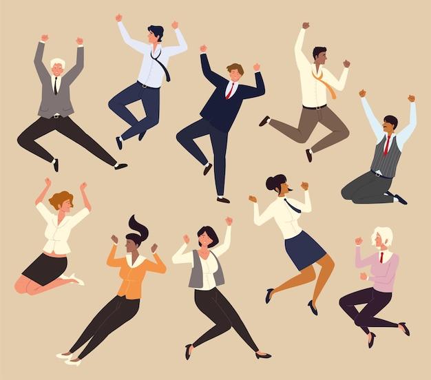 Mensen uit het bedrijfsleven springen vieren met succes