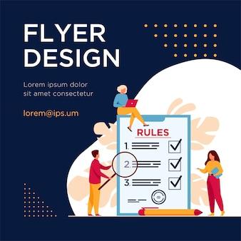 Mensen uit het bedrijfsleven studeren lijst met regels, begeleiding lezen, checklist maken. flyer-sjabloon