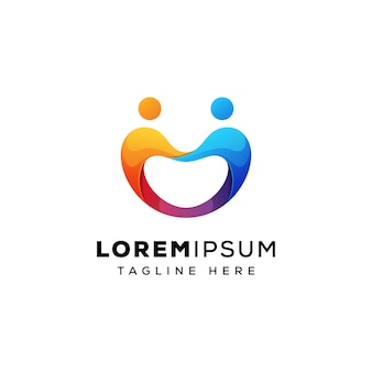 Mensen uit het bedrijfsleven team logo concept premium vector