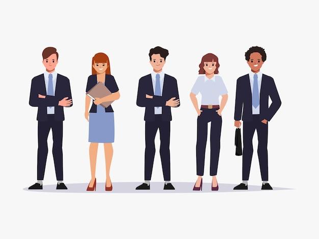 Mensen uit het bedrijfsleven teamwerk in pak kleren