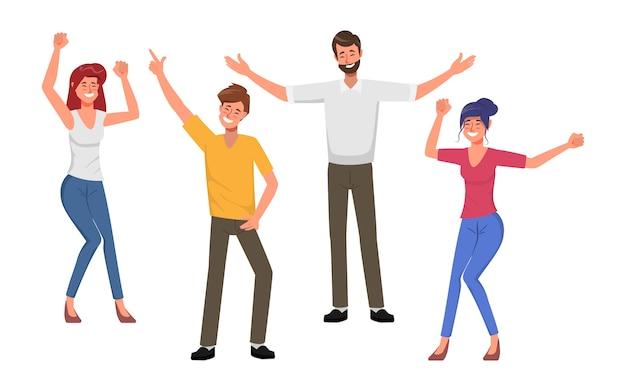 Mensen uit het bedrijfsleven teamwork office met dansen en zingen.