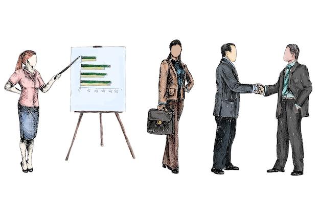 Mensen uit het bedrijfsleven tekenen gekleurd