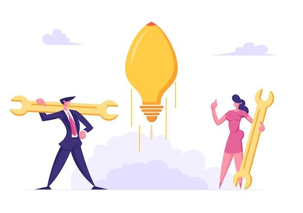 Mensen uit het bedrijfsleven tekens lanceren opstarten illustratie