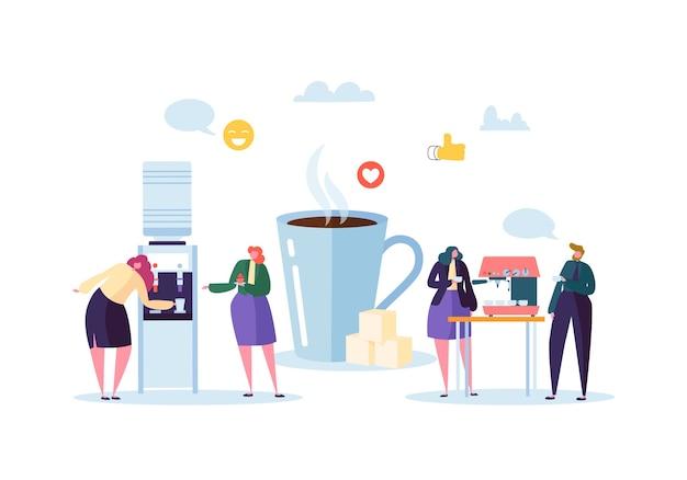 Mensen uit het bedrijfsleven tekens op koffiepauze