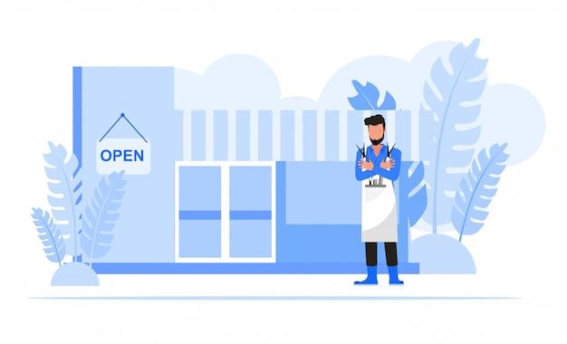 Mensen uit het bedrijfsleven tekenset. bedrijfseigenaar kapper winkel concept.