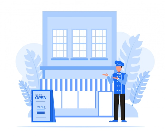 Mensen uit het bedrijfsleven tekenset. bedrijfseigenaar restaurantconcept.