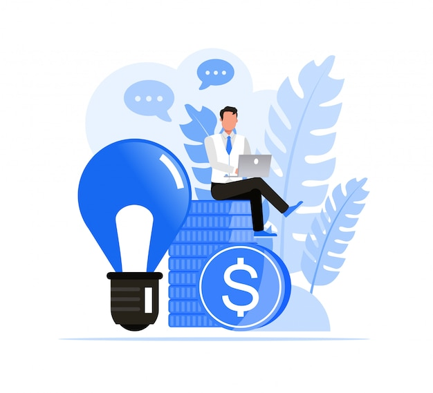 Mensen uit het bedrijfsleven tekenset. bedrijfsmensensucces met ideeconcept.