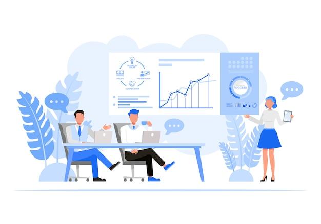 Mensen uit het bedrijfsleven tekenset. bedrijfsplanning vergadering concept.