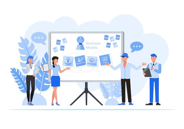 Mensen uit het bedrijfsleven tekenset. business modellen concept.