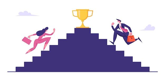 Mensen uit het bedrijfsleven traplopen met gouden beker bovenop illustratie