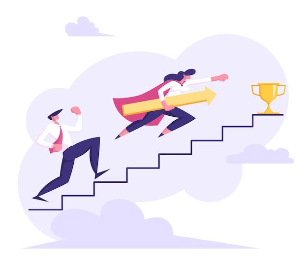 Mensen uit het bedrijfsleven traplopen naar succes illustratie