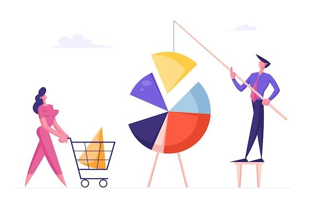 Mensen uit het bedrijfsleven verbinden enorme cirkeldiagramelementen