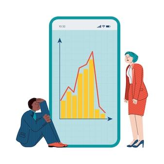 Mensen uit het bedrijfsleven verdrietig van economische crisis kijken naar mobiele app