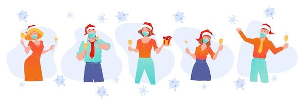 Mensen uit het bedrijfsleven vieren kerstmis. medische maskers