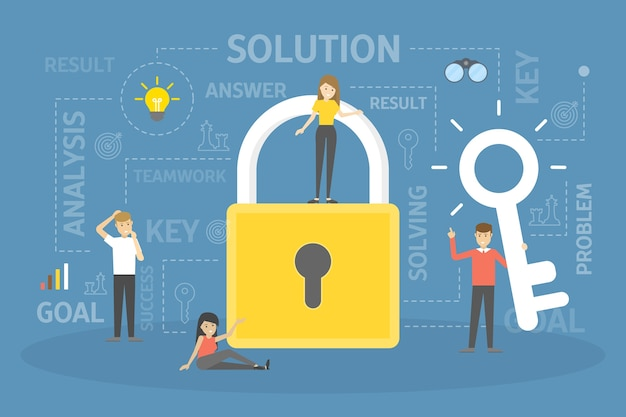 Mensen uit het bedrijfsleven vinden de oplossing. groep karakters die het probleem oplossen. sleutel als metafoor voor oplossing. illustratie