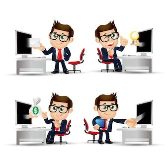 Mensen uit het bedrijfsleven voor de computer