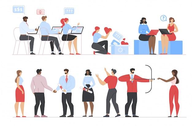 Mensen uit het bedrijfsleven werken, afstuderen, bloggen set