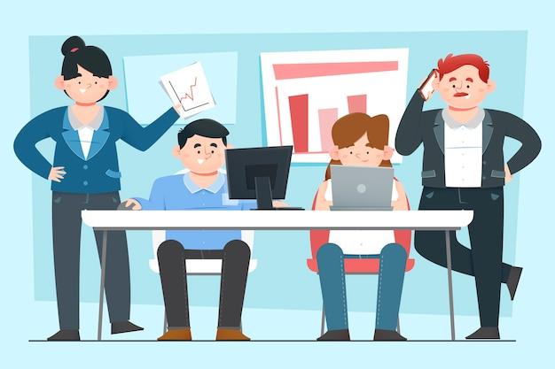Mensen uit het bedrijfsleven werken als een team
