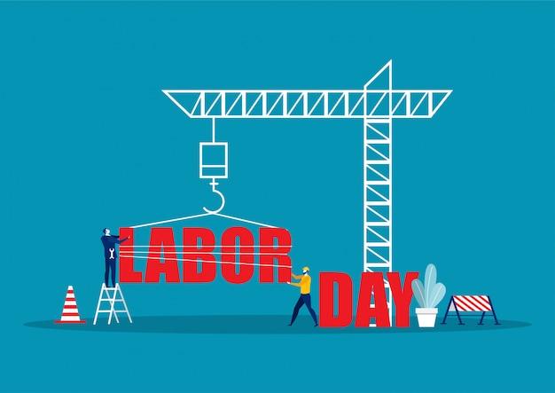 Mensen uit het bedrijfsleven werken, happy labor day