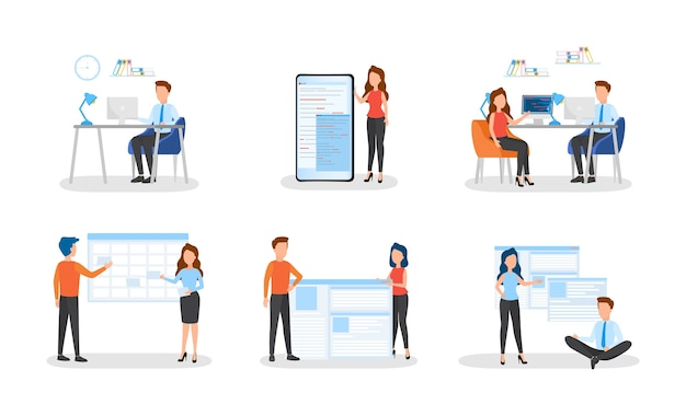 Mensen uit het bedrijfsleven werken in een kantoorset. teamwerk