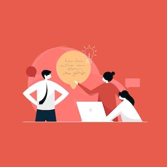 Mensen uit het bedrijfsleven werken in het kantoor, team brainstormen