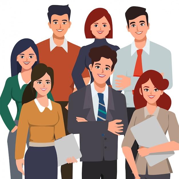 Mensen uit het bedrijfsleven werken in kantoor vector platte characterdesign.