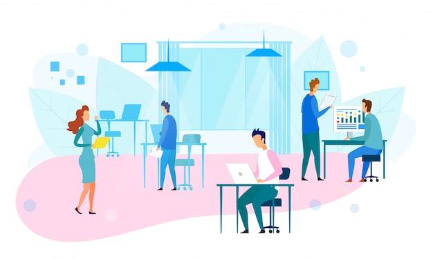 Mensen uit het bedrijfsleven werken in modern technology office
