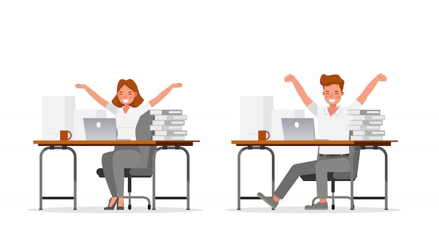 Mensen uit het bedrijfsleven werken in office-karakter
