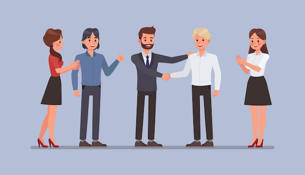 Mensen uit het bedrijfsleven werken in office karakter