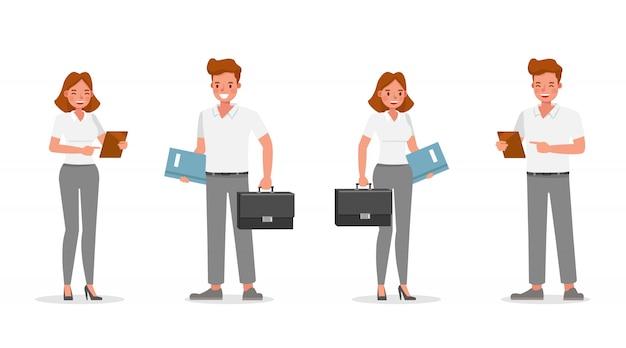 Mensen uit het bedrijfsleven werken in office karakter.