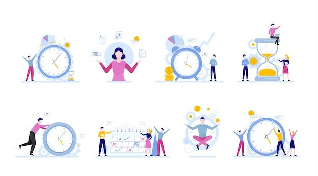 Mensen uit het bedrijfsleven werken in team en plannnig tijd