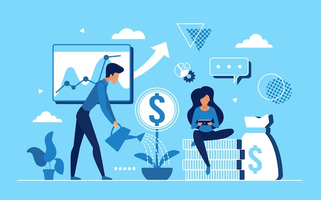 Mensen uit het bedrijfsleven werken om het concept van de inkomsten te verhogen