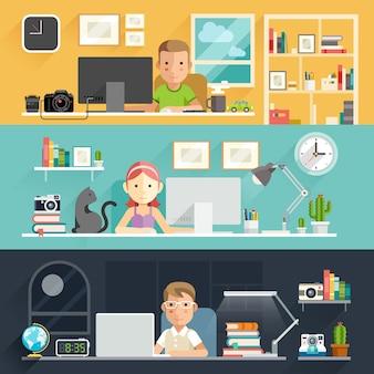 Mensen uit het bedrijfsleven werken op een bureau.