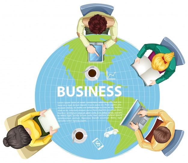 Mensen uit het bedrijfsleven werken over de hele wereld