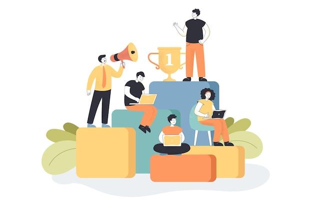 Mensen uit het bedrijfsleven werken, plannen groei in carrière