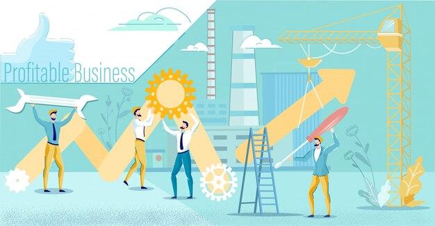 Mensen uit het bedrijfsleven werken samen aan het verhogen van de winst