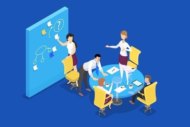 Mensen uit het bedrijfsleven werken samen concept. maak een strategie en behaal prestatie. vrouw toont de presentatie of het businessplan. werkproces. geïsoleerd plat