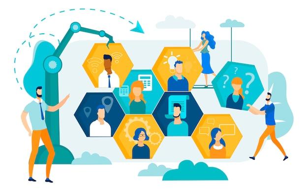 Mensen uit het bedrijfsleven werken samen, ontwikkelen strategie.