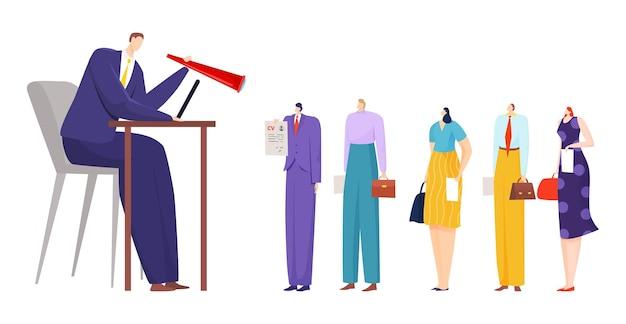 Mensen uit het bedrijfsleven werven, werknemer manager werk illustratie