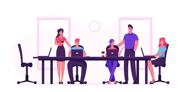 Mensen uit het bedrijfsleven zitten aan de balie tijdens bestuursvergadering idee bespreken in office. cartoon vlakke afbeelding