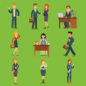Mensen uit het bedrijfsleven zitten, vergaderen, zoeken kandidaten cartoon tekens office tafel voor sollicitatiegesprek, bellen via de telefoon zakenvrouw en zakenman illustratie