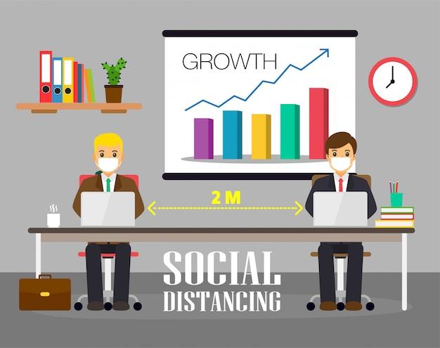 Mensen uit het kantoor houden sociale afstand. nieuw normaal bij het werken.