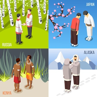Mensen uit verschillende landen die elkaar isometrisch begroeten.